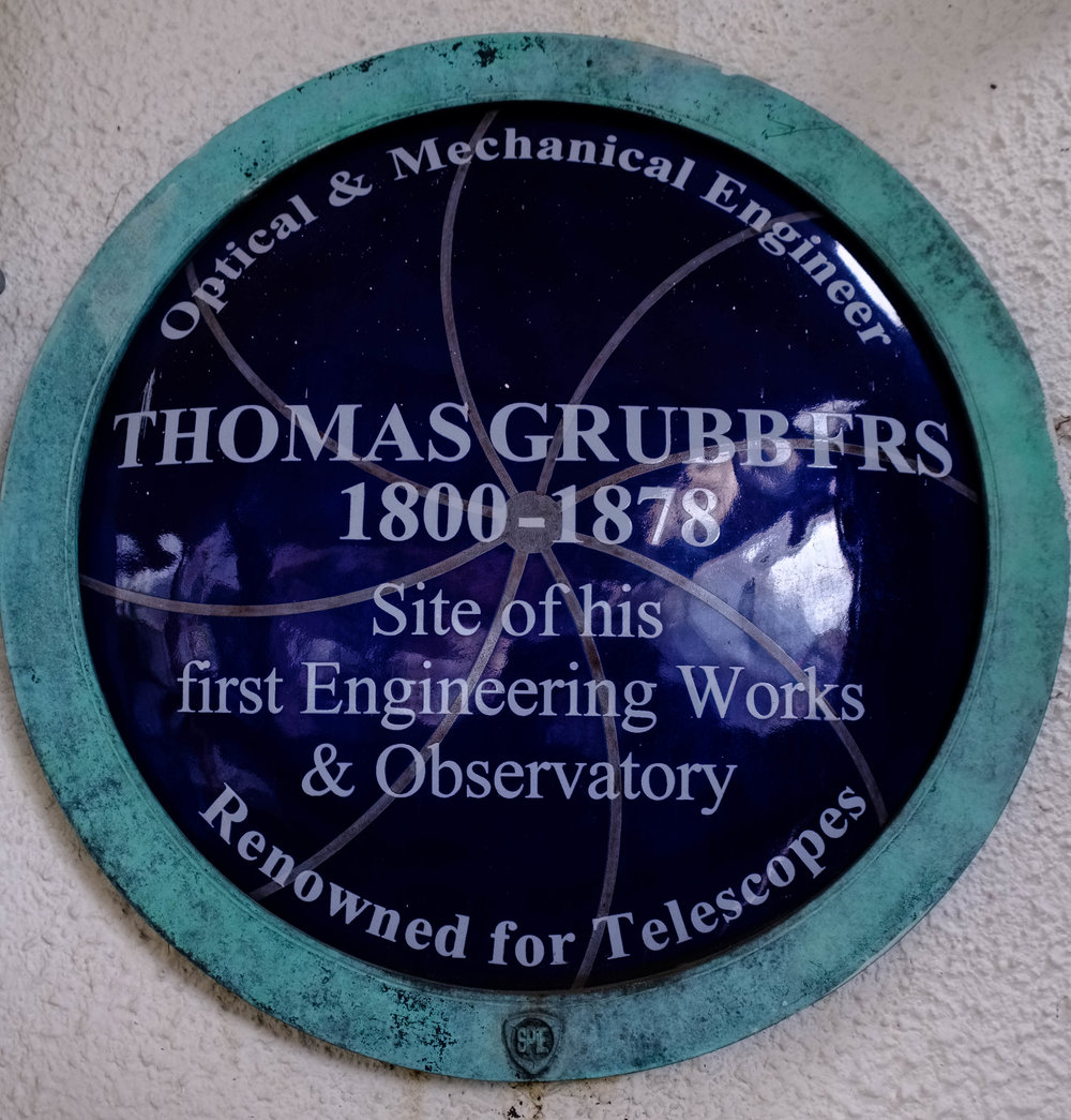 Plaque at the site of the first engineering works of Thomas Grubb, by William Fagan