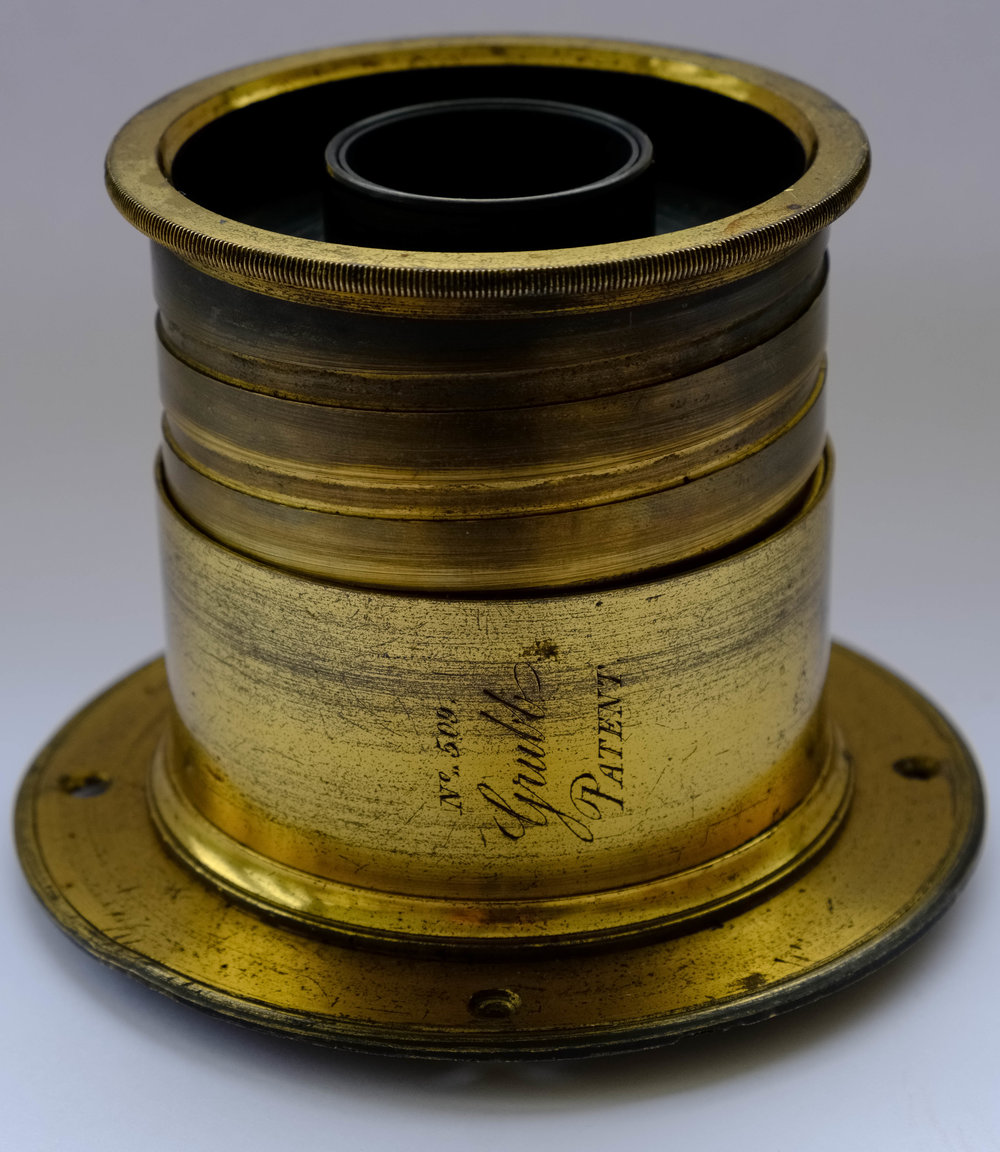 Grubb Aplanatic landscape lens showing lens number and patent mark c1855 by William Fagan