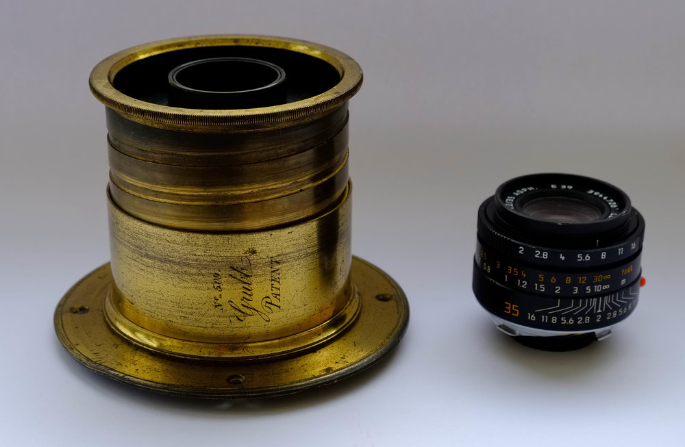 Grubb lens size compared with a modern Leica 35mm Summicron