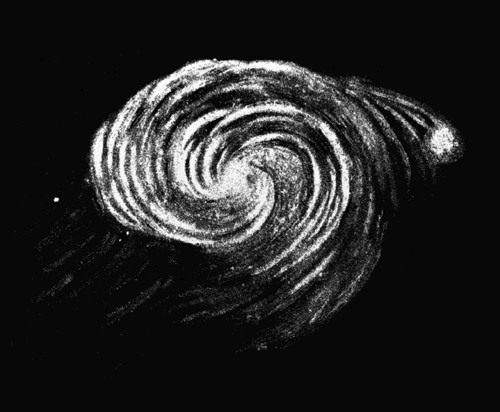 1845 drawing by Earl of Rosse of Whirlpool Galaxy, public domain