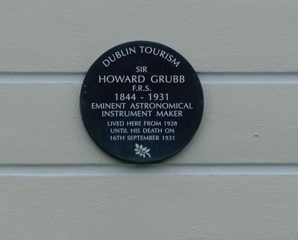 Sir Howard Grubb plaque Monkstown by William Fagan