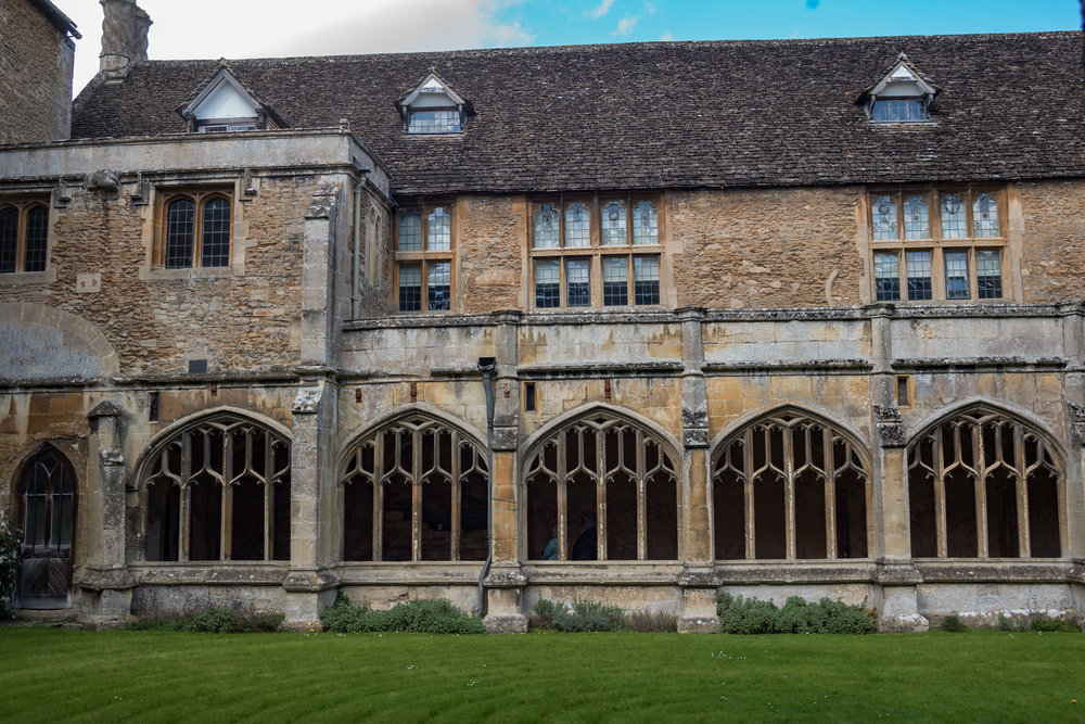 The 13th-century Lacock Abbey cloister with the William-come-lately 1540 manor house perched on top. It's a quite remarkable juxtaposition that I haven't seen anywhere else.