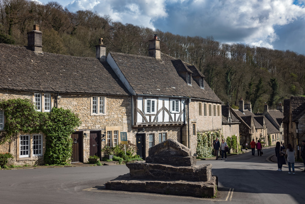 Above and below: Nearby Castle Combe, said to be the prettiest village in England — this time in colour