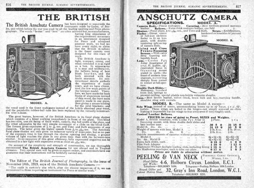 [Fig.4] The British Anschutz. German cameras could not be imported in WW1. Peeling and Van Neck brought out the British Anschutz in 1919. It only lasted three years; by 1923 it was no longer listed.