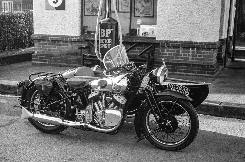 Contemporary mid-1930s Brough Superior motorcycle and sidecar snapped by the above Leica III, but with a 5cm Elmar and not the faster Summar