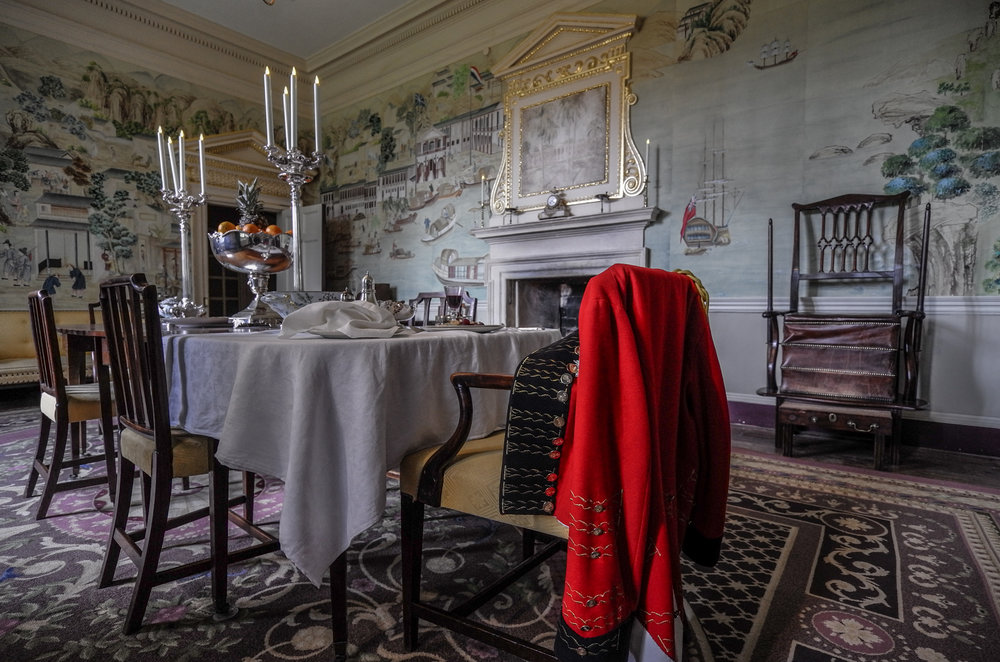 Regency dining room at Avebury Manor, set for a solitary dinner, taken at 11mm, f/3.5