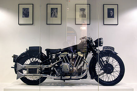 The Brough-Superior SS100 which was on order when Lawrence was killed. This model is now on display at the Imperial War Museum in London (Photo Wiki Commons)