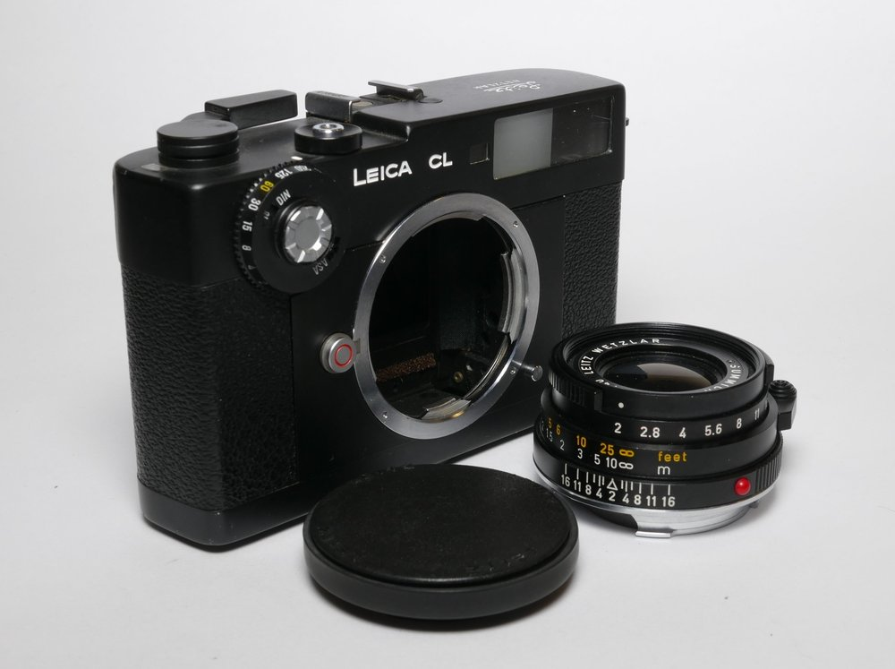 Above and below: Even the Leica CL didn't escape attrapisation — here is a pristine example with its equally dumb 40mm lens. This set is for sale at Red Dot Cameras for £299. (See link at foot of article)