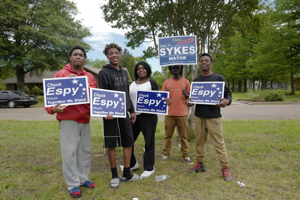 The boys electioneering on local elections day, Clarksdale, Mississippi.