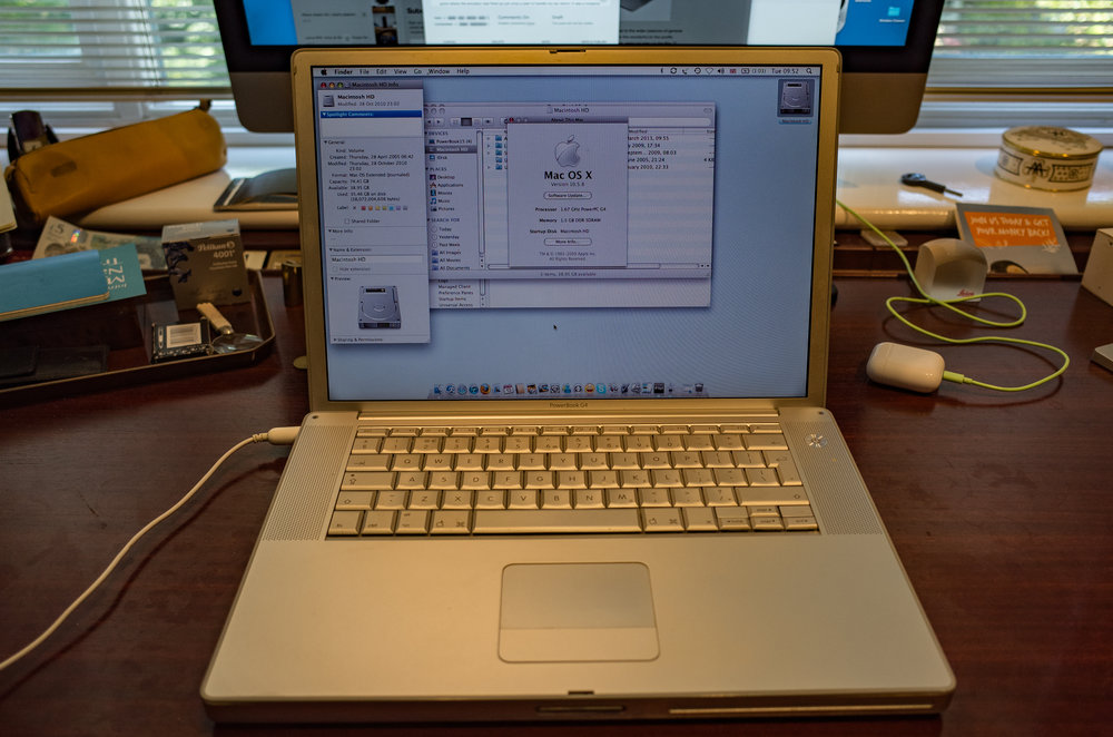 My first Mac (well, almost, the long-gone Mac mini came three days earlier). This 2005 PowerBook G4 is still running but takes forever to start and has developed an unpleasant musty smell, sniffyniscent of body odour. But.... It does boast a 1.67GHz processor, 1.5GB of RAM and a commodious 75GB drive. Back in 2005 this beast was state-of-the-art stuff and I was more than chuffed with my purchase. It is running OS X Leopard (10.5,8) but that would have been a later update. It would originally have been supplied with Tiger. In those days Macs were built like tanks (....this feels like one) and had a very definite geeky following. In the intervening years my Macs have come and gone in number; but I have held on to this PowerBook for old times' sake