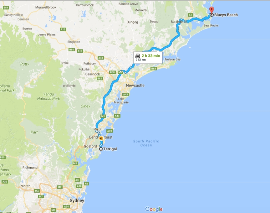 The 2½-hour drive north from Terrigal to Blueys Beach