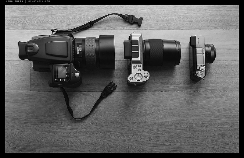 Daddy bear, mummy bear and baby bear. Ming's lightweight pick is on the right. Clue: It is not made by Hasselblad (Photo Ming Thein)
