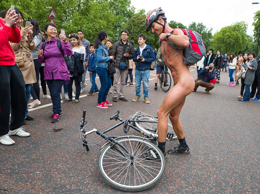 Beihai Park or Hyde Park? Guess. The Q was a nifty performer at the Naked Bike Ride in 2015