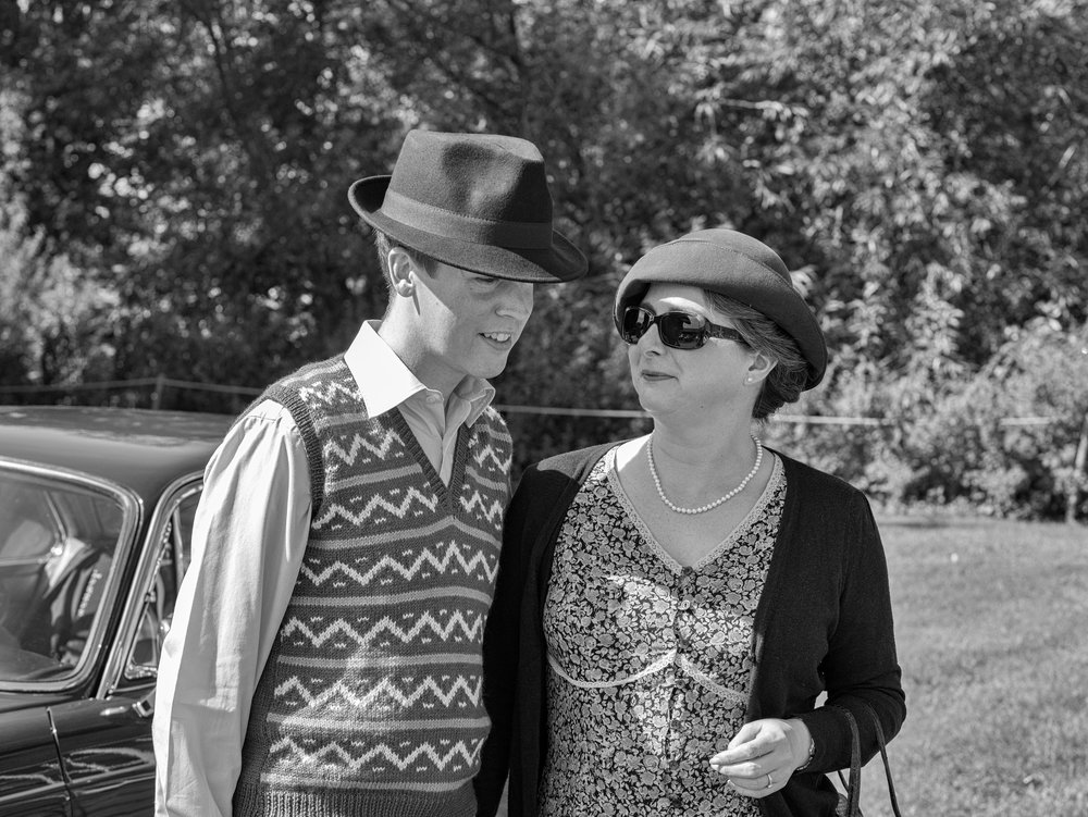 Full marks to the visitors who entered into the spirit of the event by dressing in pre-war style. I could have kicked myself for leaving the trilby at home..... (42.5mm Leica DG Nocticron)