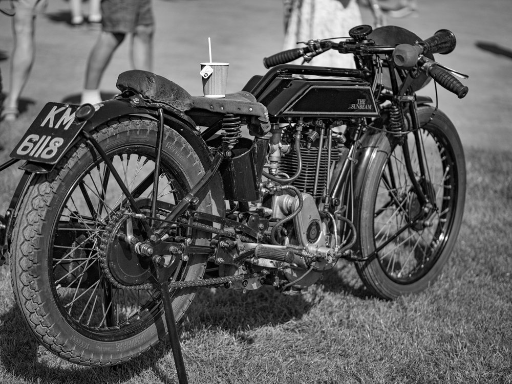 Motorbike to Go: 1930s Sunbeam with a thirsty owner. Motorcycle racing was a major part of the annual programme at Brooklands before the second world war put a stop to festivities (42.5mm Leica DG Nocticron)