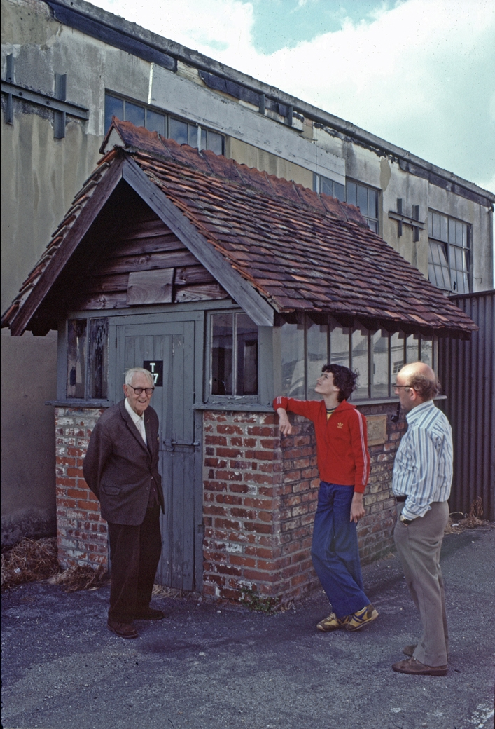 My son Peter (centre) propping up the 1911 air ticket office in its original location, well before it was declared an Ancient Monument. On the left is Bob Dicker who not only won over 100 races at the track, but also worked for Vickers and was the aircraft rigger for Alcock & Brown's first ever successful transatlantic flight. On the right is Jim Young, a well-known restorer of Riley racing cars who brought along the pre-war Riley racer for the use of Charley Dodson (see below)