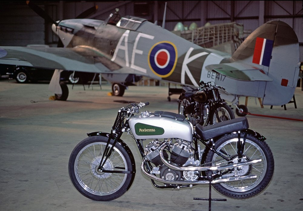 The unique ca.1939 500 cc works V-Twin New Imperial racer which, I believe, held the pre-war lap records at both Brooklands and Donington Park. It was infamous for its evil handling but looks serene enough in this 1973 shot