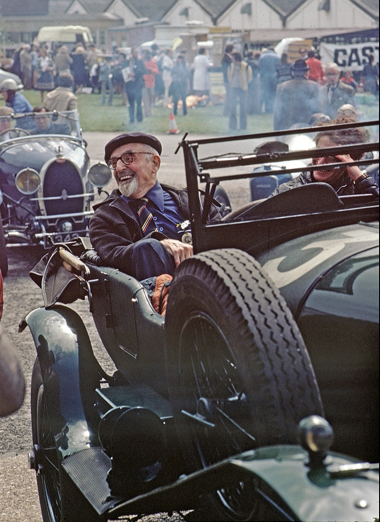 Sammy Davis, the last of the famous 1920s Bentley Boys, on this special outing at Brooklands in 1973
