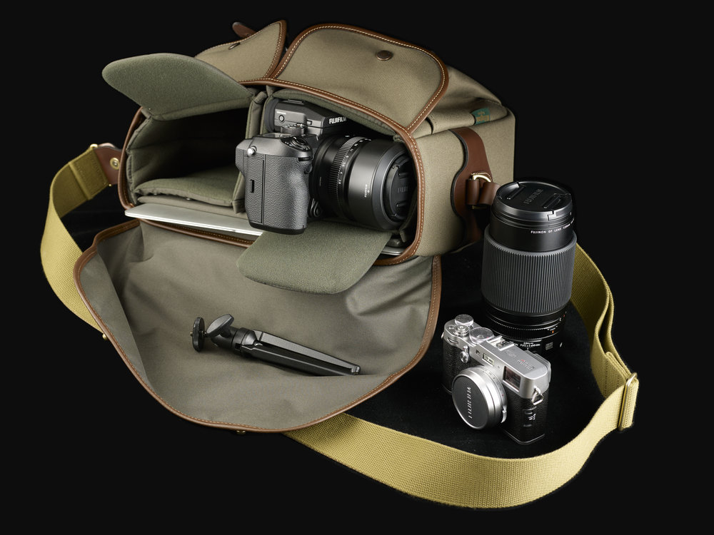 The One fitted with two half-width inserts side by side (one is supplied with the bag). Note the laptop safe in its padded sleeve. The added width of the bag is perfect for cameras with viewfinder bulges such as the Fuji X-T2 as shown here