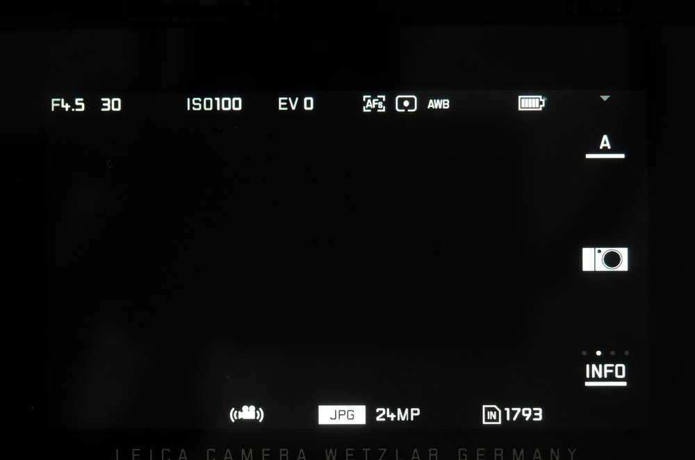This is the opening gambit, screen as seen when composing shots. The three buttons in the righthand column allow direct access to Mode, My Camera and Info (to adjust degrees of information visible on the screen)