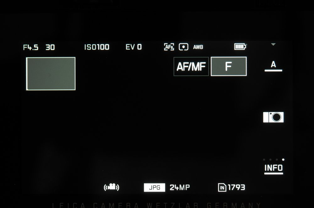 The rectangles to the top right of the screen show the currently set functions of the two adjustment dials on the camera top plate. All these menu shots were taken by Dunk Sargent using his trusty workhorse, the Leica X Vario with an additional Leitz Elpro close-up lens