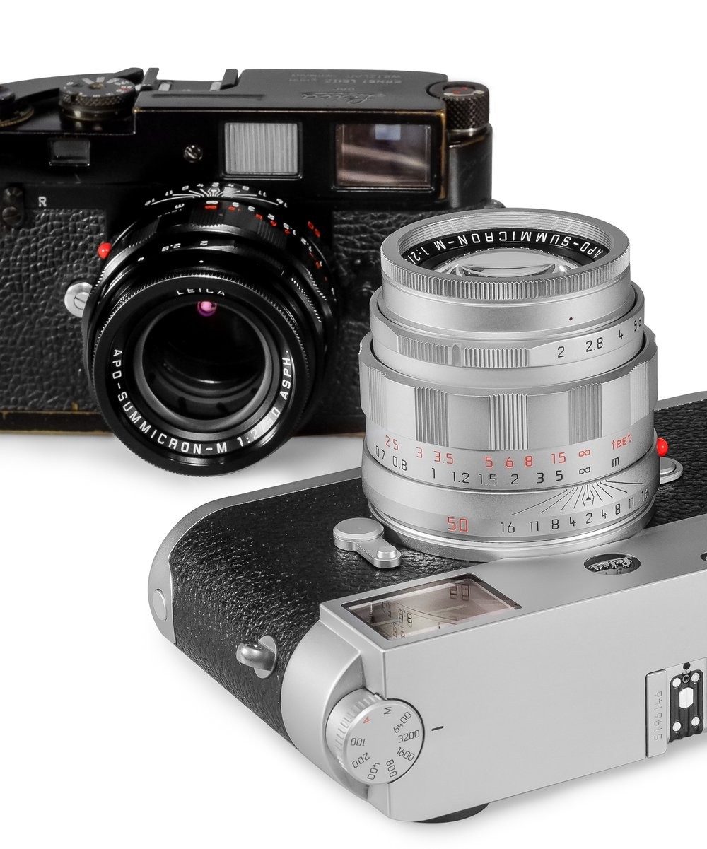 LHSA 50th Anniversary APO-Summicron-M 50mm f/2 in Silver Chrome pictured on an M10, and in Black Paint finish pictured on a Black Paint M2.