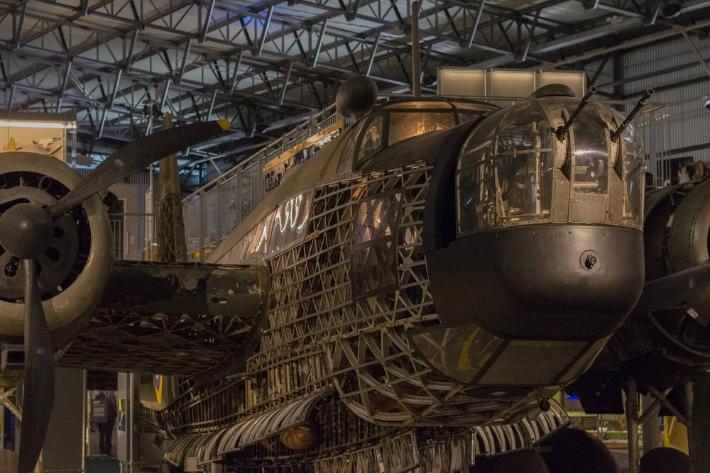 The resurrected Wellington is centre stage in the new Brooklands Aircraft Factory exhibit. Leica CL with 50mm f/1.1 Voigtländer Nokton, ISO 6400