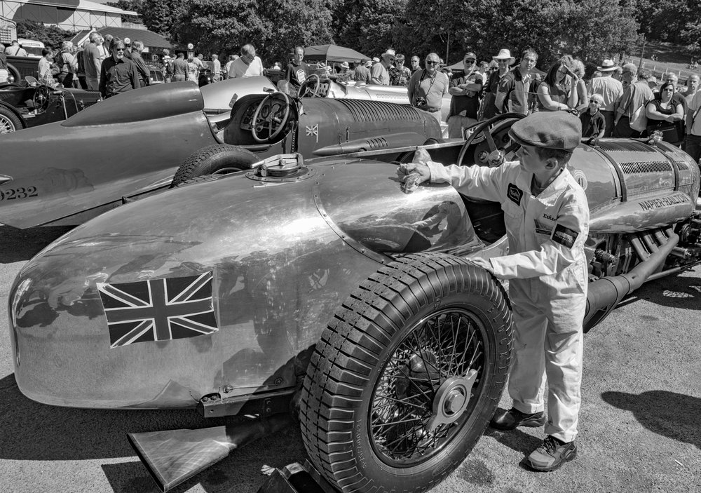 An outing to Brooklands and the monster 24-litre Napier-Railton with keen mechanic Ethan doing the polishing.