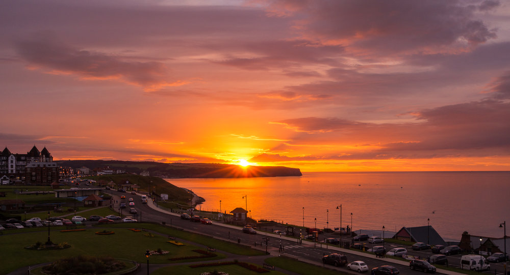 A Whitby sunset in late July, shot from the roof tops of The Crescent