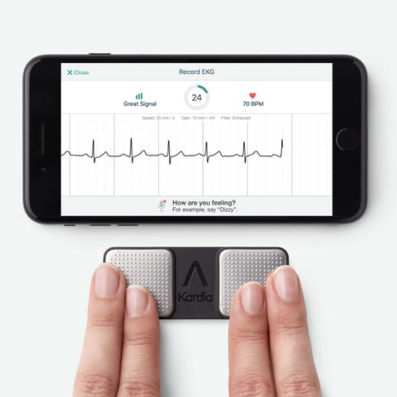 The Kardia EKG is a pocketable device which allows an ECG (EKG) to be taken at any time, anywhere. It has been medically approved in both the US and UK