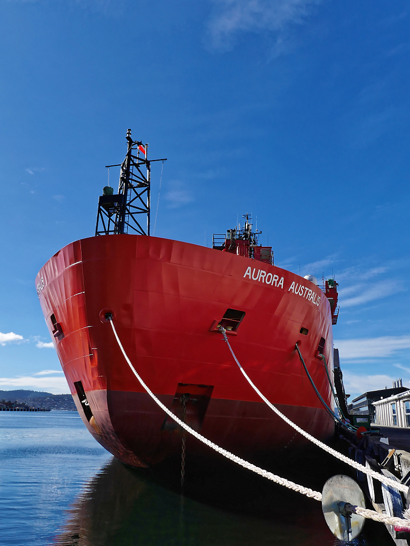 Australia's main supply ship and ice breaker for its Antarctic bases lays at anchor in Sullivans Cove, Hobart.  The Australian Antarctic program uses Hobart as its main base and training ground