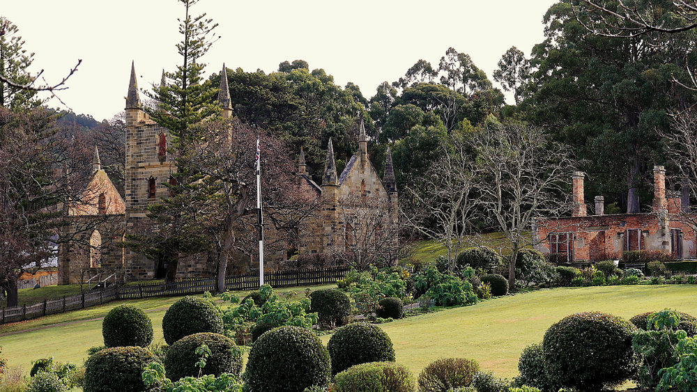 Back to Port Arthur. A better glimpse of the old church. To the right are the remains of the Governor's Cottage.  All built by convict labour and eventually lost to bushfires