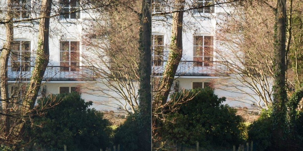90mm f/11 comparison. Summicron-M left, 55-135 right