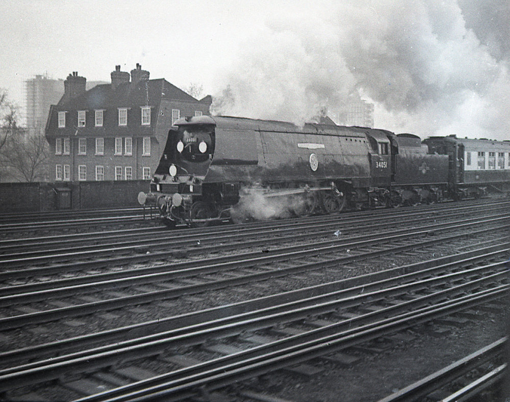 Churchill's funeral train departing from Waterloo Station and heading to Oxfordshire. My suburban clunker overtook Churchill at just the right moment. Appropriately, the locomotive is No.34051, a Southern Railway Battle of Britain class 4-6-2 Pacific bearing the name Winston Churchill. It was built at Brighton in 1946 and is now on display at the  National Railway Museum  in Shildon, Derbyshire. Oddly, Churchill declined to attend the naming ceremony in September 1947. Winston Churchill, not the man, was nationalised in 1948 by the new Labour government. We can surmise that the great man did not approve.