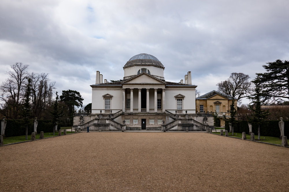 Chiswick House on a cold February day. It is said to be the finest example of Palladian architecture in Britain