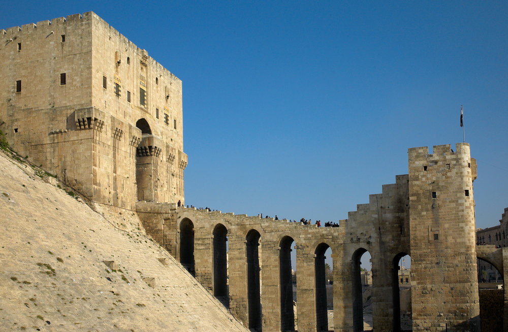 13 Going East Syria 09 Aleppo Citadel Entrance.jpg