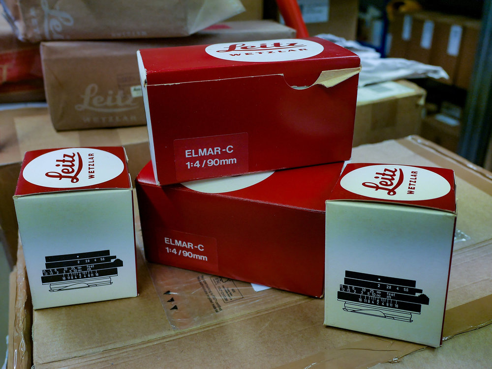 Boxes of new CLs and CL lenses discovered recently by Red Dot Cameras after lying in storage for over 40 years (Image Mike Evans)