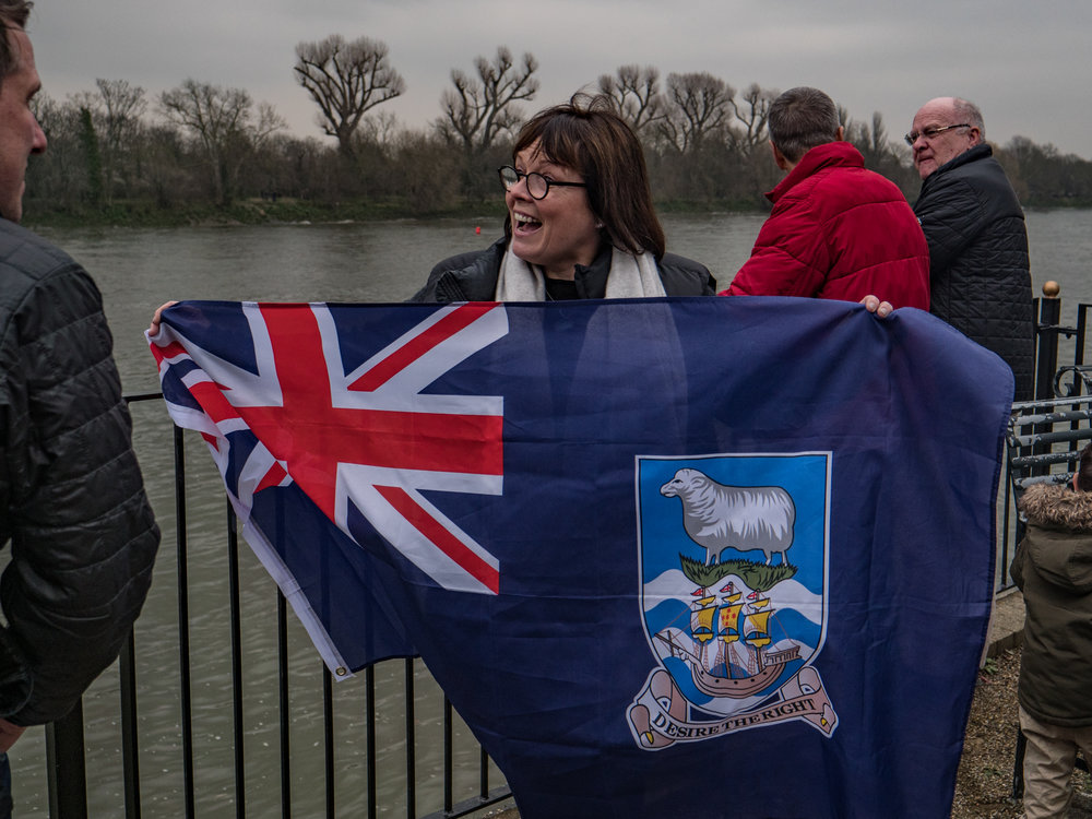 Pub quiz time, what flag is this? A spectator at the annual Boat Race produced this rather pristine Falklands Islands flag. Whatever next? (Image Panasonic Lumix G9 and Leica DG 12-60mm Vario-Elmarit