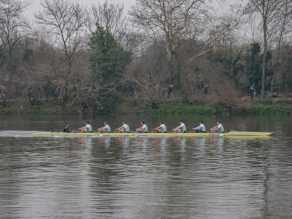Here it is, folks.... The big moment as Cambridge flashes by on their way to winning the 2018 Oxford and Cambridge Boat Race. Below: Seconds later Oxford flash past on their way to losing the 2018 race (Image Panasonic Lumix G9)