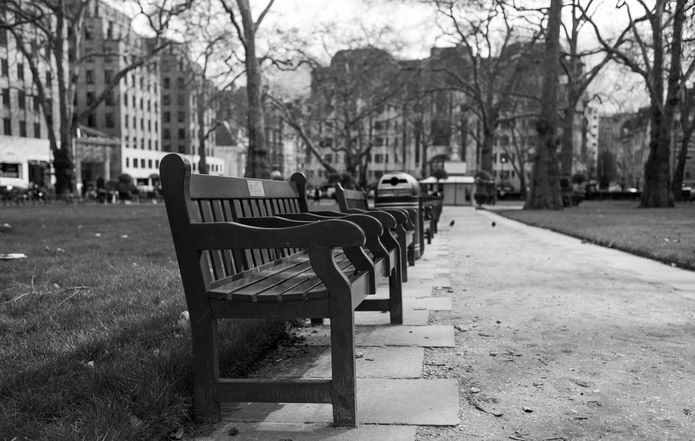 Bench bokeh test in Berkley Square — Leica M10 and 35mm Summicron at f/2