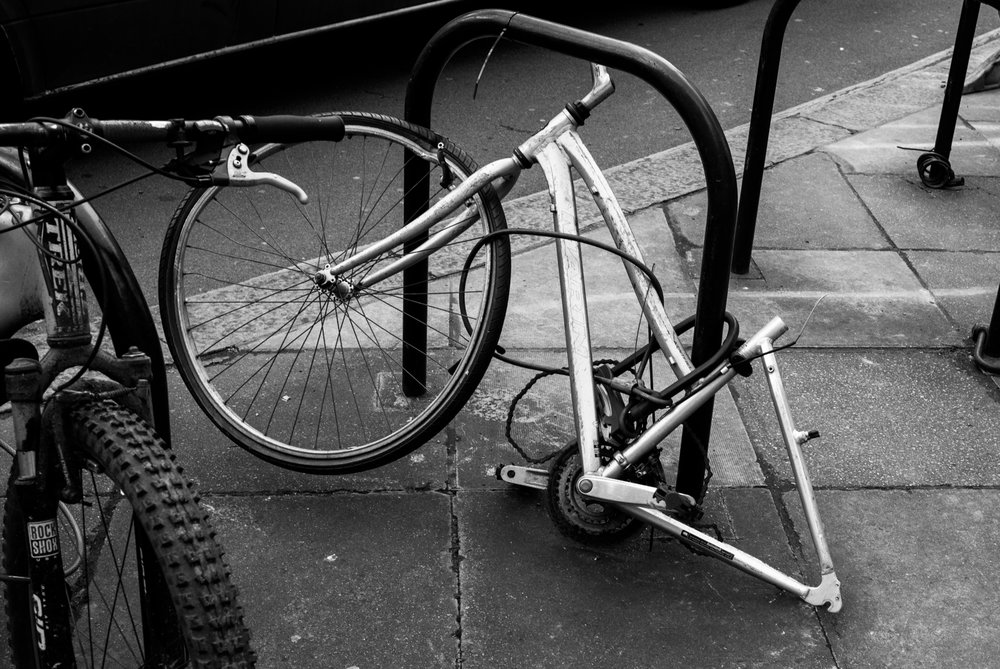 Any old iron: One of my early attempts with the M, testing my rangefinder skills — the remains of a bike parked in Mayfair