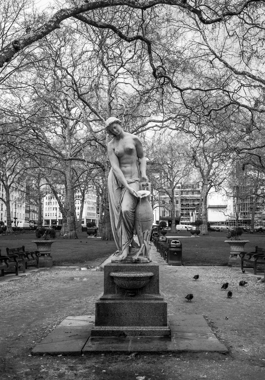 The Nymph by Alexander Munro, erected in Berkeley Square in 1858. You cannot leave the square without taking this shot