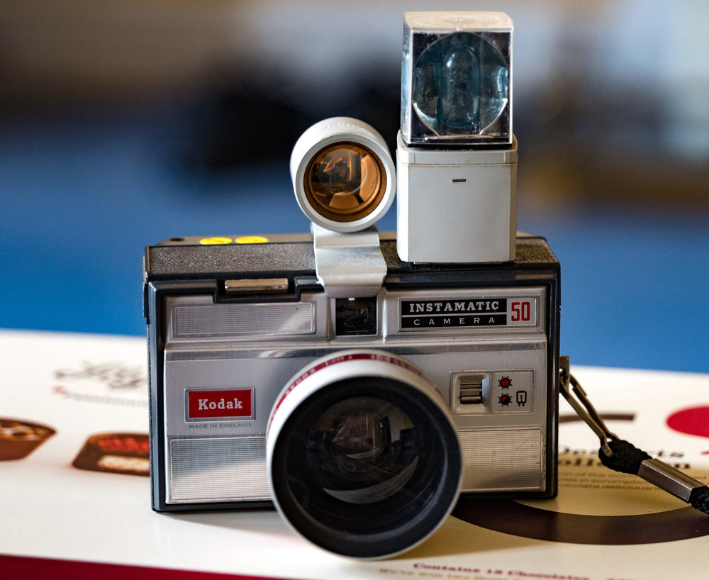 Not a Brownie, but the Mike's pop-up Kodak Instamatic festooned with useful accessories. If he'd owned one of these in his youth he would have felt like a real pro!