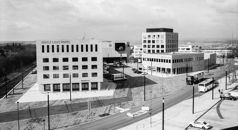 View from the viewing terrace: the Leitz Park is growing. Leica M6 TTL with 35mm Summilux, Kodak Tri-X 400, orange filter