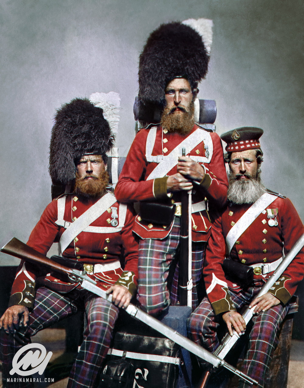 Scottish soldiers who served in the Crimean War, brought to life in colour (Marina Amaral)