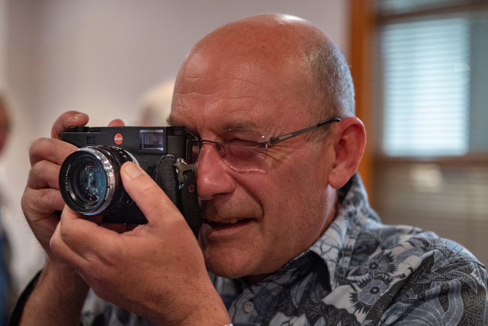 Another of my Circle D colleagues, Alan Hills, trying out the M10 with road-test Voigtländer 40mm Nokton (Image Leica CL and 35mm Summilux-TL