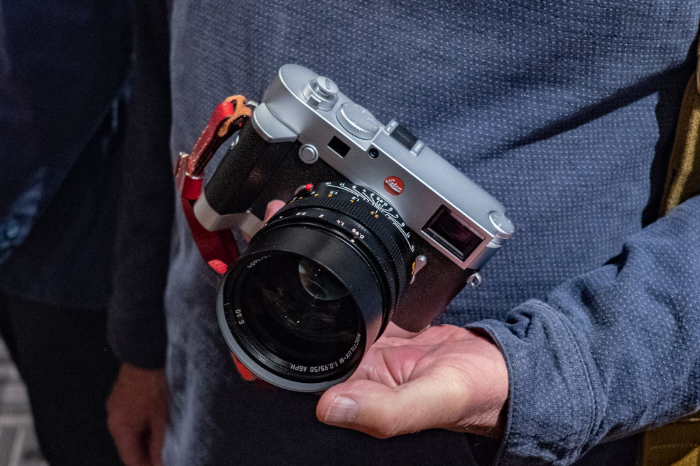 Lots of eye-candy for camera fans at a weekend such as this: Here is Tom Lane's silver M10 with matching Leica grip and 50mm Noctilux — the dream team, perhaps? I generally order black Ms, but this outfit set me thinking about the silver alternative (Image Leica CL and 35mm Summilux-TL)