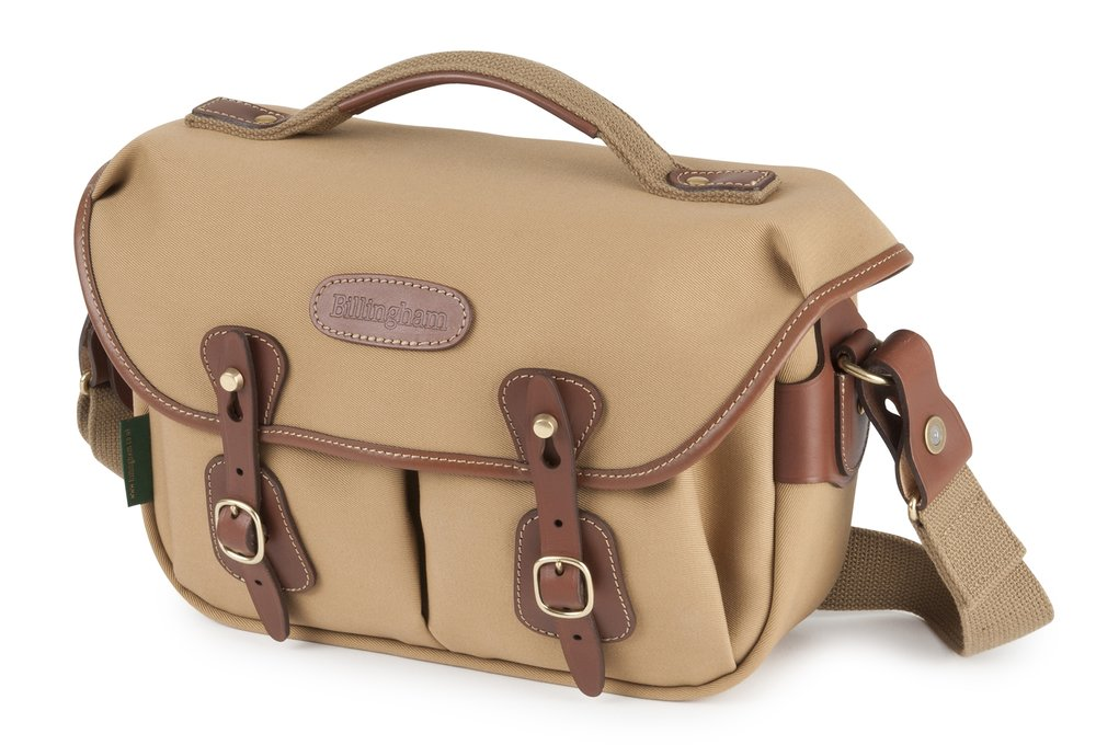 The review bag in khaki canvas with tan leather