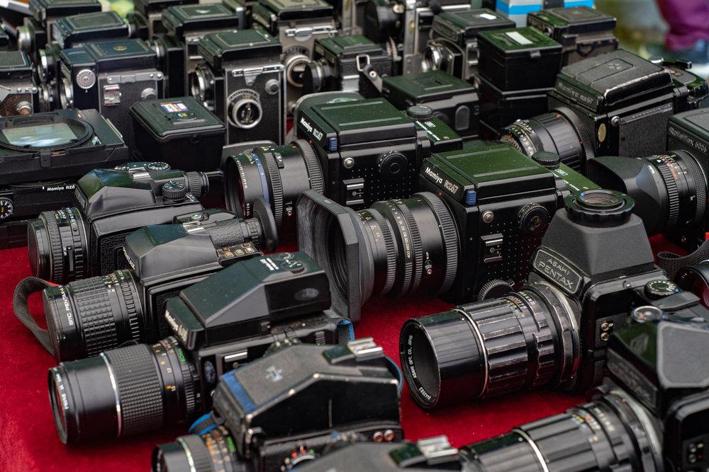 Serried ranks of elderly cameras everywhere