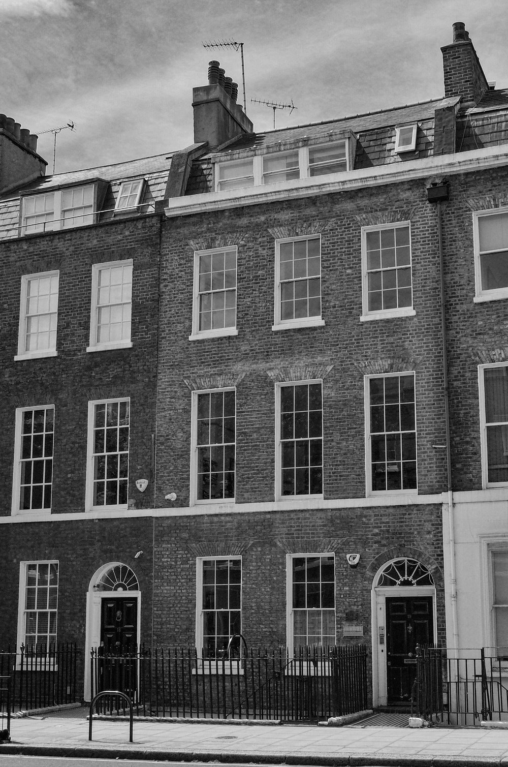 The frontage of No. 19 Doughty Street, once home to The Racing Pigeon. The precious birds lived in lofts on the roof, as Mike found out when he went to solicit their services for a secret mission